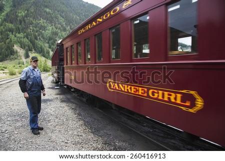 Crew on Durango and Silverton Narrow Gauge Railroad, Silverton, Colorado, USA, 07.07.2014 - stock photo