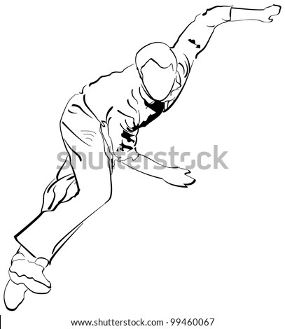 Bowling Cricket Drawing Cricket Stock Photo