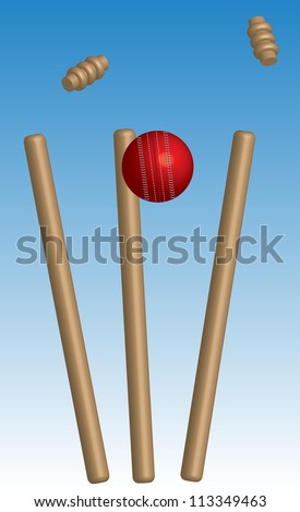 Cricket ball and wickets with blue background - stock photo