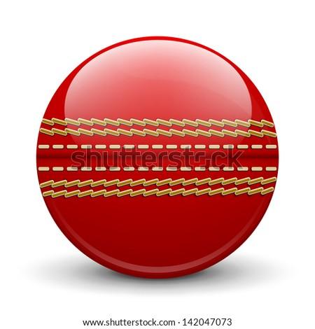 Cricket ball on white background - stock photo