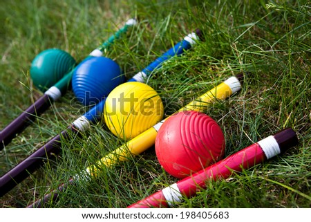 Cricket game, stick and ball - stock photo