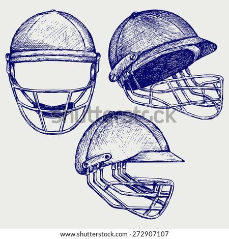 Cricket helmet. Doodle style. Raster version - stock photo