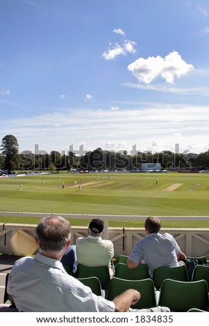Cricket match and spectators - stock photo