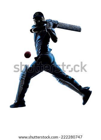 Cricket player batsman in silhouette shadow on white background - stock photo