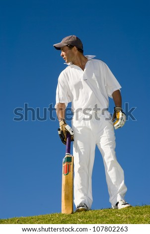 Cricketer in action - stock photo