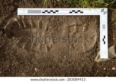 Crime scene investigation - collecting of trasology evidence - stock photo