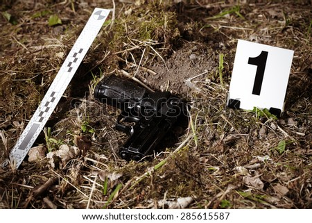 Crime scene investigation - pistol in summer park - stock photo