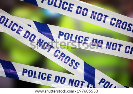 Crime scene investigation police boundary tape concept for law enforcement - stock photo