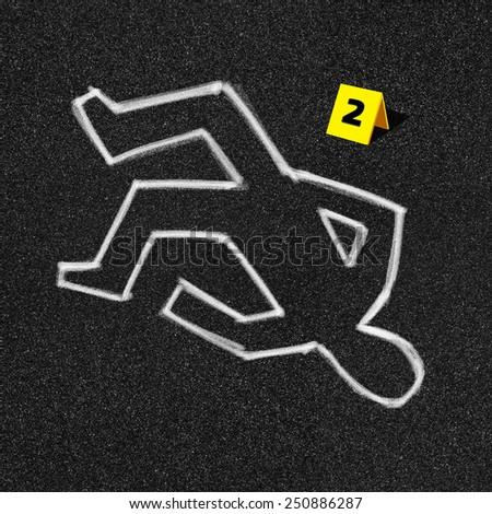 Crime scene on black asphalt background illustration - stock photo