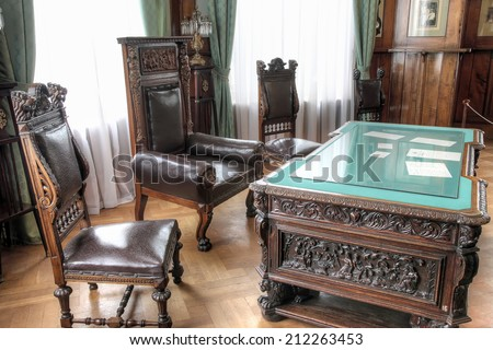 CRIMEA, LIVADIA - May 08.2009: Former South residence of the Russian emperors. Cabinet - stock photo