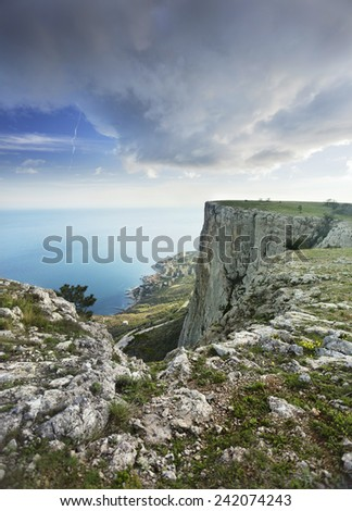 Crimean mountains with sea view - stock photo
