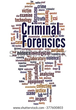 Criminal Forensics, word cloud concept on white background. - stock photo