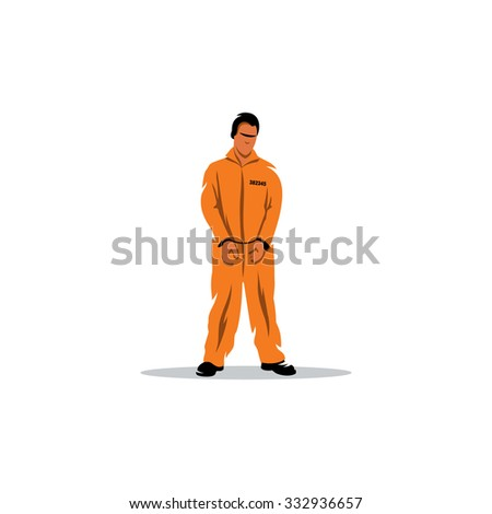 Criminal in orange robe. The offender in handcuffs prison in bright clothes. - stock photo