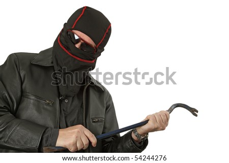 Criminal theme - gangster with a chisel studio isolated - stock photo