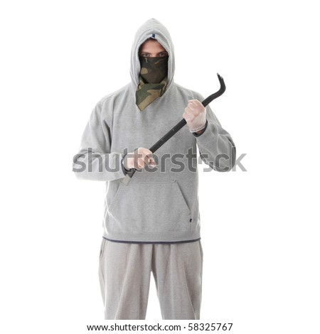 Criminal theme - thug with a crowbar isolated on white background - stock photo
