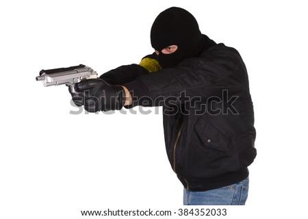 Criminal with handguns isolated on white background - stock photo