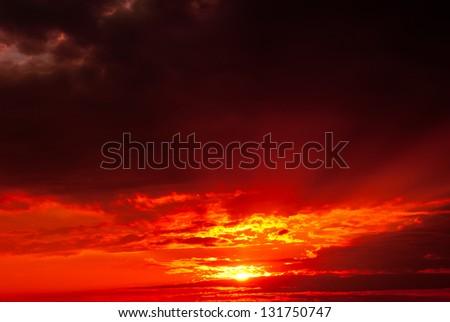 Crimson sunset - stock photo