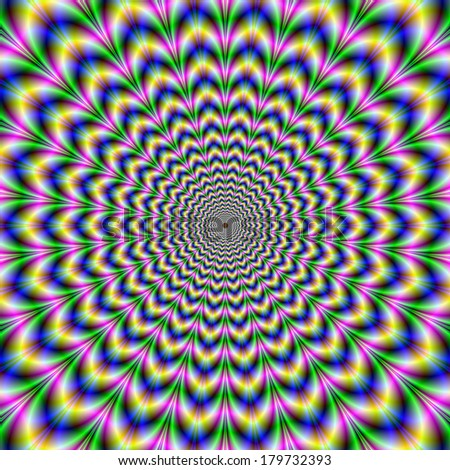 Crinkle Cut Psychedelic Pulse Alternative Color / Digital abstract fractal image with an optically challenging design in blue, yellow, pink and green. - stock photo