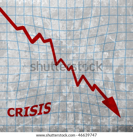 crisis: arrow graph going down - stock photo