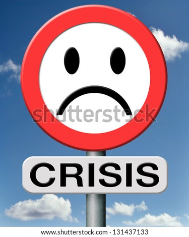 crisis bank economic and financial recession caused by stock market crash or a family or relation crisis - stock photo