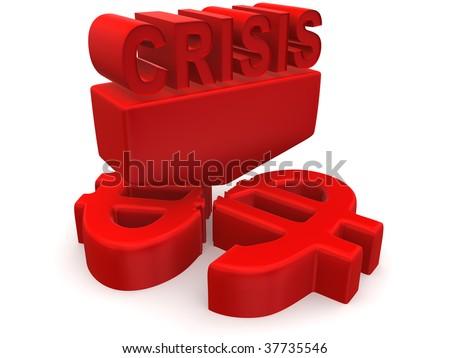 Crisis. 3d - stock photo