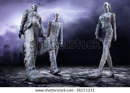 Crisis in world on dark sky with lightning - stock photo
