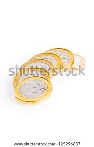 crisis of eurozone, detail of some euro coins on white background - stock photo