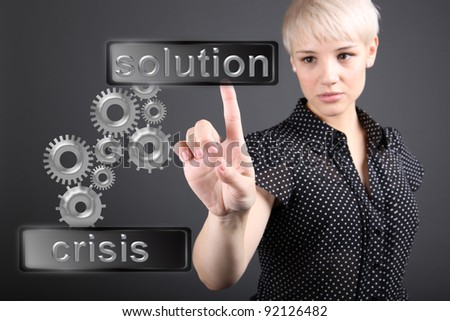 Crisis solving concept - business woman touching screen - stock photo