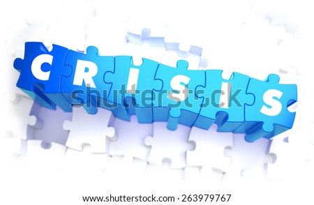Crisis - Text on Blue Puzzles on White Background. 3D Render. - stock photo