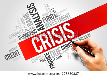 CRISIS word cloud, business concept - stock photo