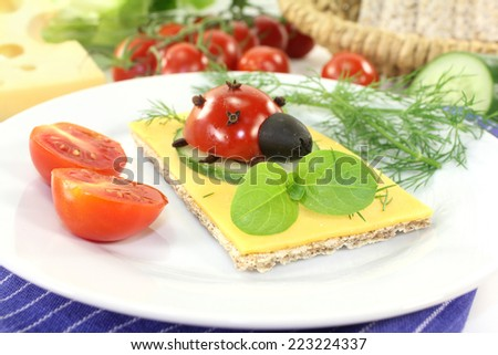 Crisp bread with cheese, tomato and dill - stock photo