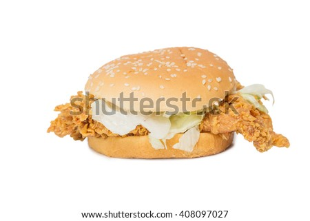Crisp chicken burger with lettuce isolated on white background - stock photo