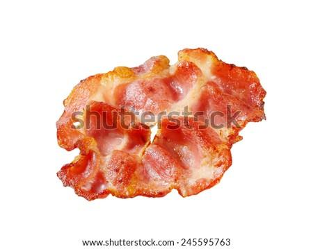 Crispy bacon slice isolated on white - stock photo