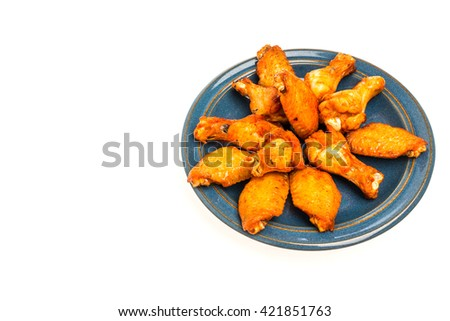 Crispy chicken on a white background - stock photo