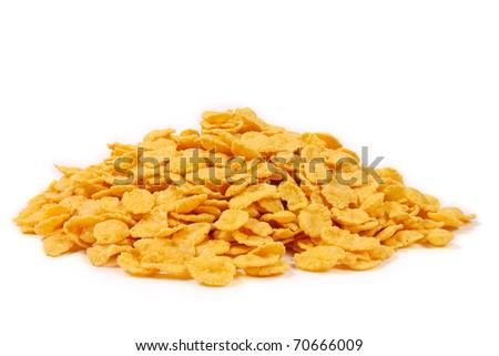 Crispy corn flakes isolated on white background - stock photo