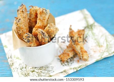 Crispy Eggplant Fries, selective focus - stock photo