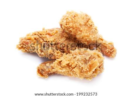 crispy fried chicken on white background - stock photo