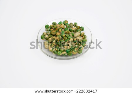 Crispy green peas Isolated On White. - stock photo