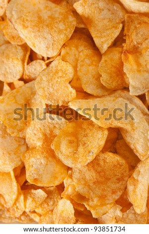 crispy potato chips background - stock photo