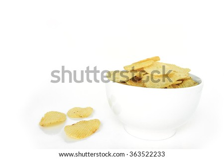crispy potato chips junk food unhealthy food - stock photo