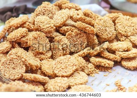 Crispy rice cracker : Thai rice food - stock photo