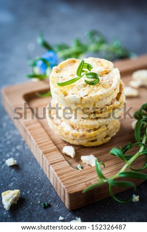crispy rice waffles with fresh herbs - stock photo