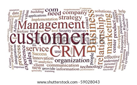 crm customer relations management and marketing word cloud - stock photo