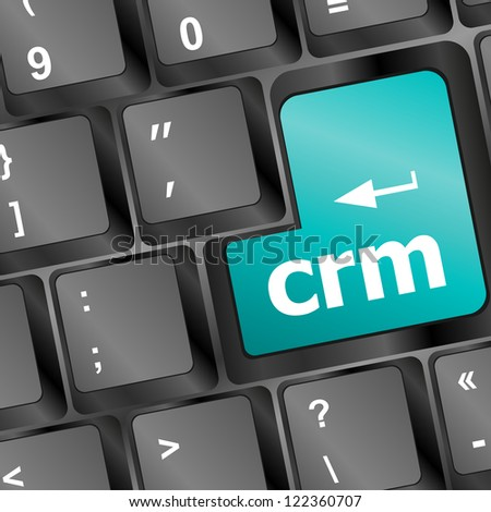 crm keyboard button on computer pc, raster - stock photo