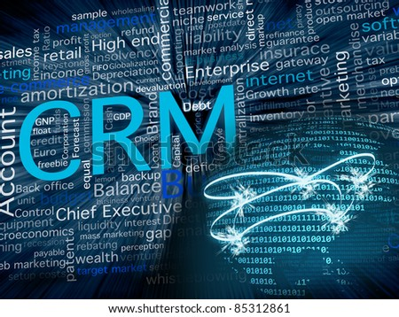 CRM related terms in blue and a big world sphere with the American state in front, made with zeros and ones numbers for a business, software and communication concept. - stock photo