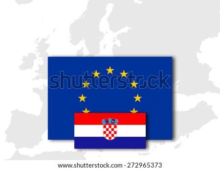 Croatia and European Union Flag with Europe map background - stock photo