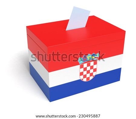 Croatia ballot box with Croatia Flag. Isolated on white background. - stock photo