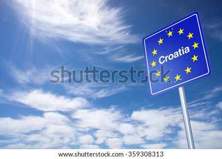 Croatia Border Sign with clouds sky. 3D Rendering - stock photo