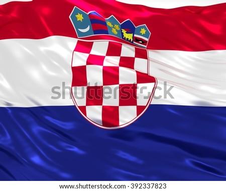 croatia flag on white background - stock photo