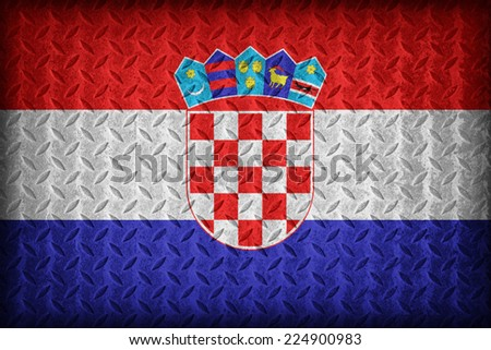 Croatia flag pattern on the diamond metal plate texture ,vintage style - stock photo